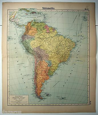 Original Map of South America by Otto Herkt c1912