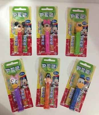 Set of 6 Disney Mickey Minnie Mouse Daisy Donald Duck Pluto Goofy  Pez BN