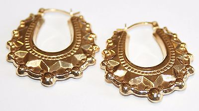 Brand New 9ct Yellow Gold Gypsy Spiked Victorian Style Creole Hoop Earrings