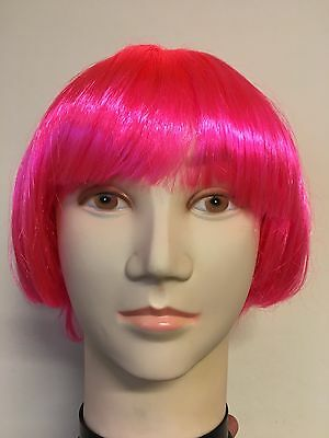 Womens Ladies Pink Blond Short Bob Wig Fancy Dress Bobbed Wigs Hen Party Costume