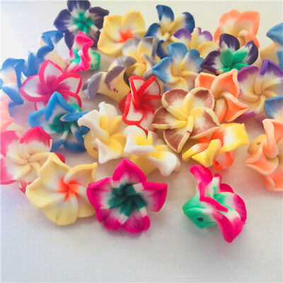 50/100Qty! 15mm/20mm Mixed Polymer Fimo Clay Flower Spacer Loose Beads