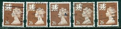 Great Britain Wales Sg-W80,  Scott # Wmmh-74, Used, 5 Stamps, Great Price