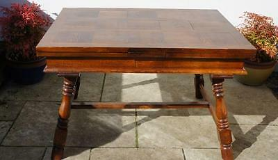 "Early 20th c French,  Oak parquetry top, country, extending table  2'10""x 7' max"