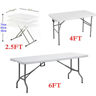 2.5FT 4FT 6FT Portable Folding Trestle Table Heavy Duty Plastic Garden Party BBQ