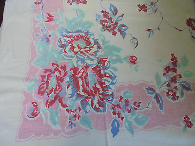Vintage PINK BLUE RED & GREEN FLORAL TABLECLOTH 54 x 44