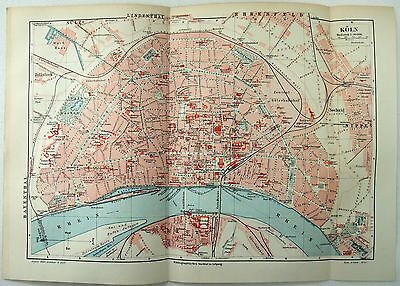 1907 City Map of Cologne Germany by Meyers.  Koln