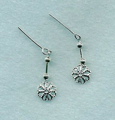 Barbie Doll Earrings - A Pair Of All Silver Filigree Disc Dangle Jewelry