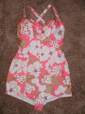 Vtg 1950s-60s Floral Pin Up Swimsuit Bathing Suit - VGC - Robby Len Fashions
