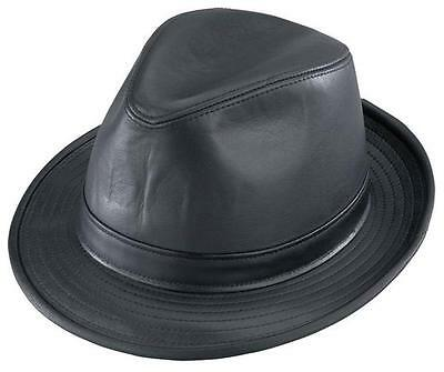 b7798322ccca0 NEW Henschel Hats Quality HIGH ROLLER Satin Lined LEATHER Fedora Hat Black  NWT
