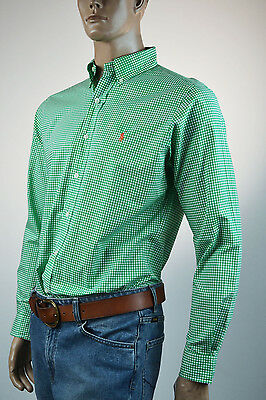 Ralph Lauren Classic Fit Green & White Check Long Sleeve Shirt/Orange Pony- NWT