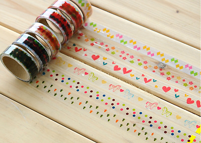 5M Washi PVC Clear Tape Craft Self Adhesive Scrapbook Card DIY Party Diary Pack