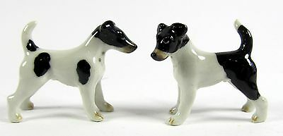 Miniature Porcelain Hand Painted Fox Terrier Dog figurines Set/2 (Mini)