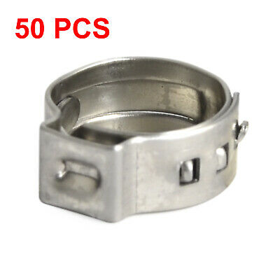 "50 Packed 3/8"" PEX Stainless Steel Clamp Cinch Ring Crimp Pinch Fitting Tubing"