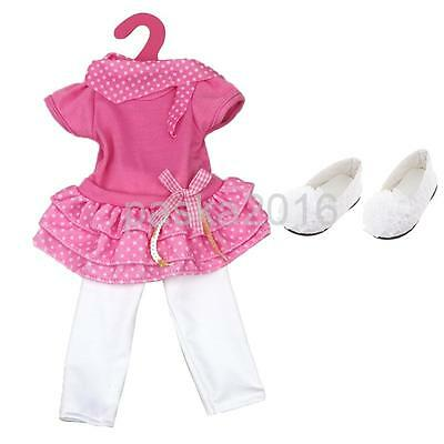 """3 Layer Dress & Leggings Outfit & Shoes for 18"""" American Girl Dolls Clothes"""