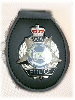 WAPOL Belt Badge Holder - Large LEATHER Belt Clip with Chain - Custom Made