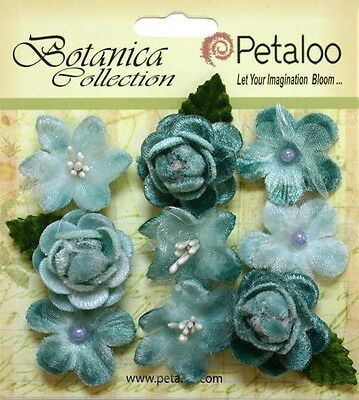 VINTAGE VELVET Mini TEAL x 9 Fabric Flowers 25-30mm Petaloo C