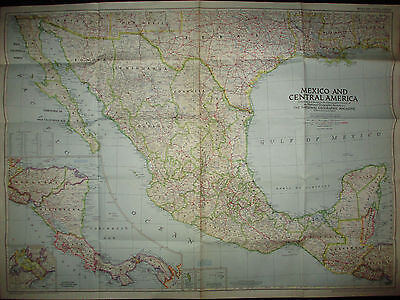 Original Vintage National Geographic Map March 1953 Mexico Central America 37x28