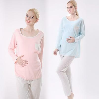Women Pregnant Nursing Clothes Maternity Pyjama Set Breastfeeding Sleepwear