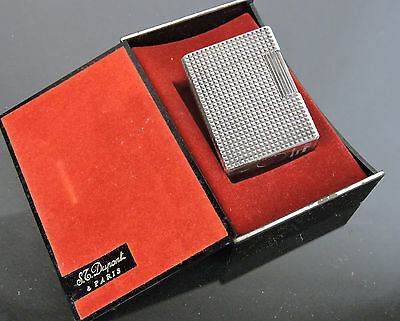 AUTHENTIC VINTAGE S.T.DUPONT SILVERTONE LIGHTER w/ PLASTIC CASE MADE IN FRANCE
