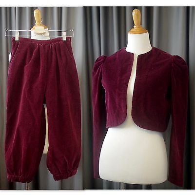 Women's Vintage 70's Corduroy KnickerBocker Pant and Jacket Red XS S Suit Red