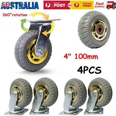 4x 4'' 100mm Heavy Duty Swivel Caster Wheels Castor Load 120KG each
