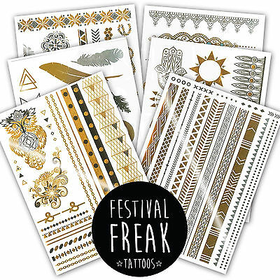 6 Pack ✮ Luxury Metallic Gold & Silver Temporary Body Tattoos Festival Ibiza A5