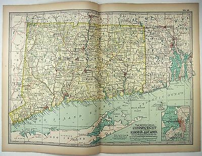 Original 1897 Map of Connecticut & Rhode Island by The Century Company