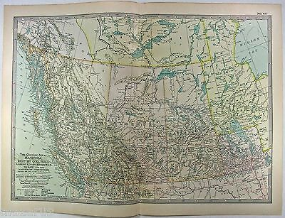 Original 1906 Map of Manitoba, BC & The Northwest Territories by The Century Co.