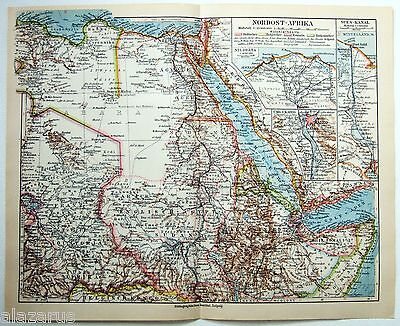 Original 1924 German Map of Northeast Africa by Meyers