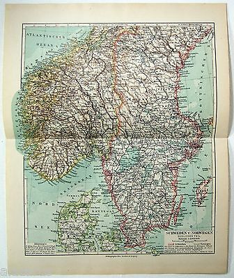 Original 1924 German Map of Southern Sweden & Norway by Meyers