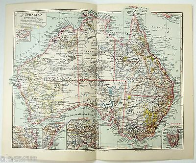 Original 1924 Map of Australia by Meyers
