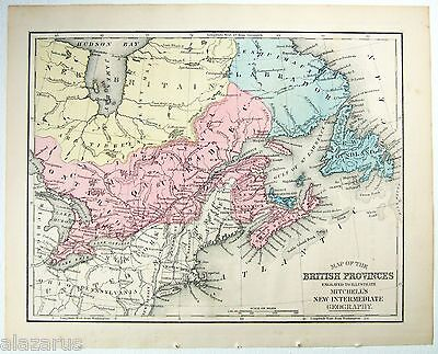 Original 1869 Mitchell's Copper-Plate Map of The British Provinces of Canada