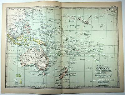 Original 1897 Map of Colonial Oceania by The Century Company. Australia
