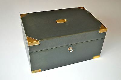 Superb quality leather and brass bound cigar box humidor vintage cedar lined