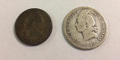 Dominican Republic 1939  25 And 5 Centavos 1944 Coins Silver -Key Date-