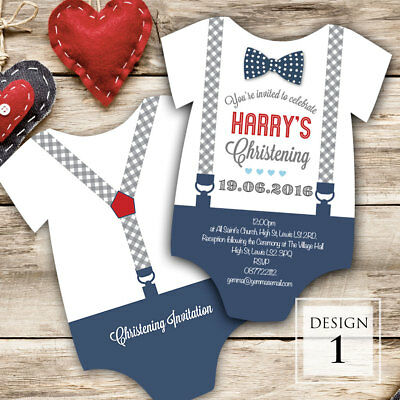 Personalised Christening Cut out Invitations • Baptism • Naming day • Boy • Girl
