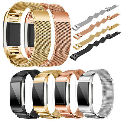 Magnetic Milanese Loop Steel Replacement Wrist Strap Band for Fitbit Charge 2