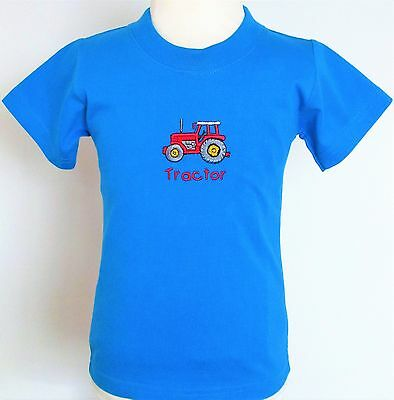 Applique Embroidered Red Tractor Design on Blue Baby T Shirt