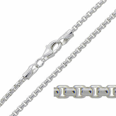 """925 Sterling Silver ROUNDED BOX Chain Necklace 16 18 20 22 24 26 28 30"""" 2mm"""
