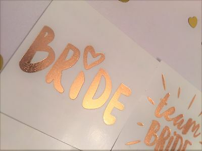 Rose Gold Foil - Hen Party / Do Temporary Tattoo - Team Bride - Bride Tribe