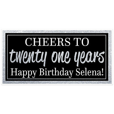 21st Birthday Banner Black And Silver Glitter Party Backdrop Decoration