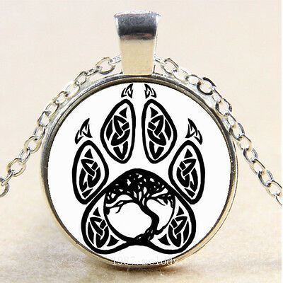 Photo Cabochon Glass Silver popular pendants Necklace(Celtic life Tree Paw