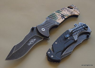 8 Inch Razor Tactical Spring Assisted Tactical Rescue Knife With Pocket Clip