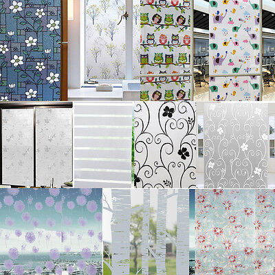 Static Cling Cover Frosted Stained Flower Window Film Glass Privacy Home Decor
