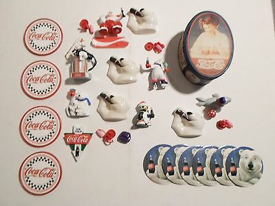 Vintage 90's Coca Cola Lot Figurine Toys Tin Magnets & Coasters Nice Lot