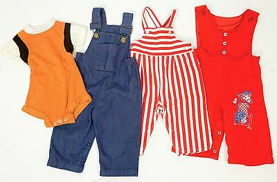 Lot of 4 Vintage 70s Boys Baby Clothes Outfits Onesie Overalls denim knit twill