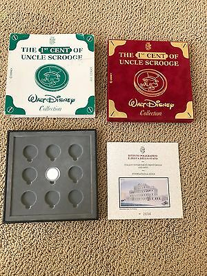 1st Cent of UNCLE Scrooge McDuck PURE SILVER COIN wow LE w/COA Walt Disney RARE!