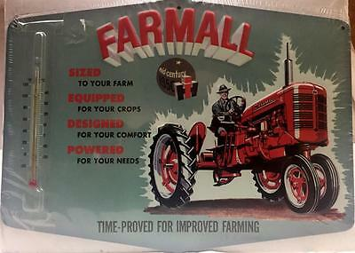 Farmall  Tractor International Harvester Farm Thermometer Sign  Made In USA