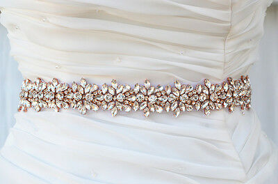 Rose Gold Bridal Crystal, Pearl sash. Rhinestone Applique Wedding Belt., vintage