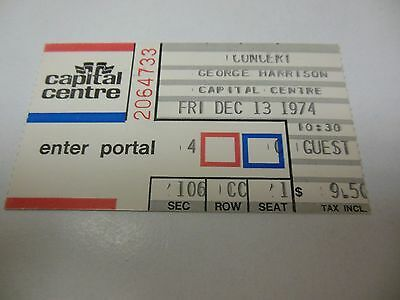 1974 George Harrison Concert Ticket Stub Capital Centre Landover Md Cool Rare